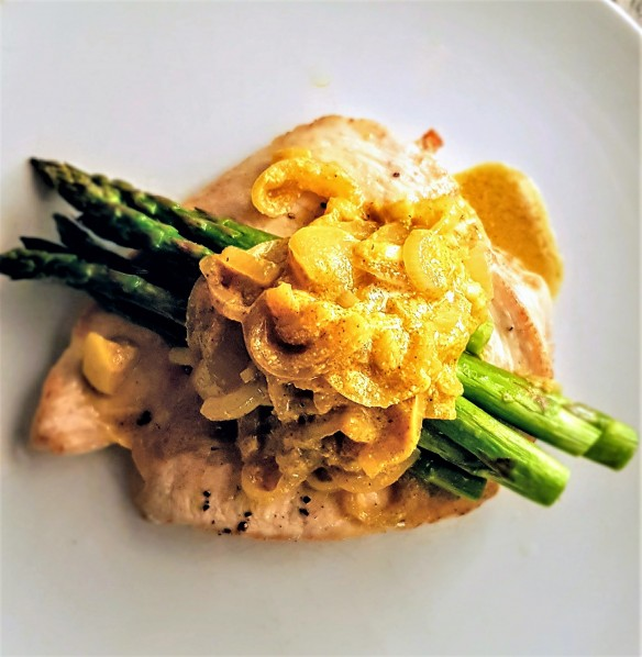 Roasted Chicken Breast with Mustard Onions