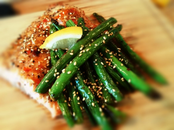 Roasted Sweet Chili Salmon and Charred Beans
