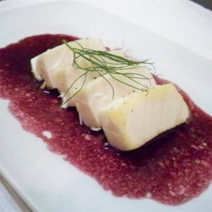 Escolar (White Tuna) Poached in Extra Virgin Olive Oil with Fennel Fronds and Red Wine Béarnaise