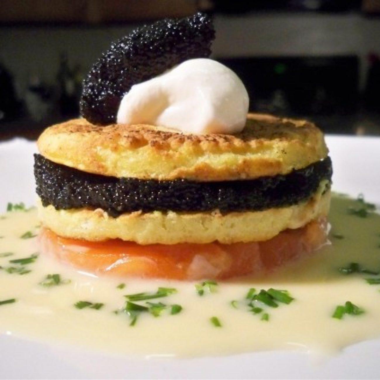 Caviar and Salmon Blini