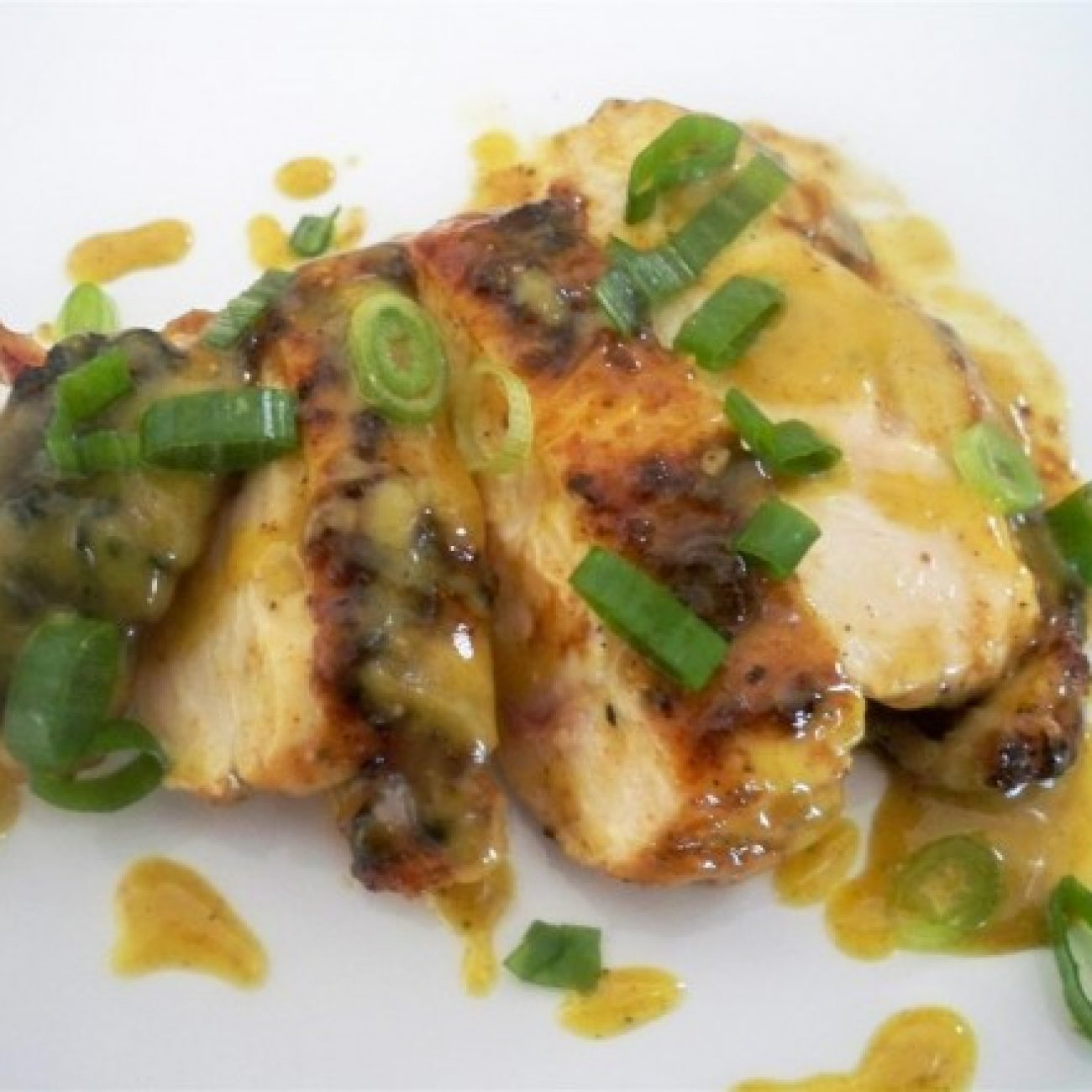 BBQ Spice Rub Grilled Chicken Breast with Black Pepper Mustard Vinaigrette