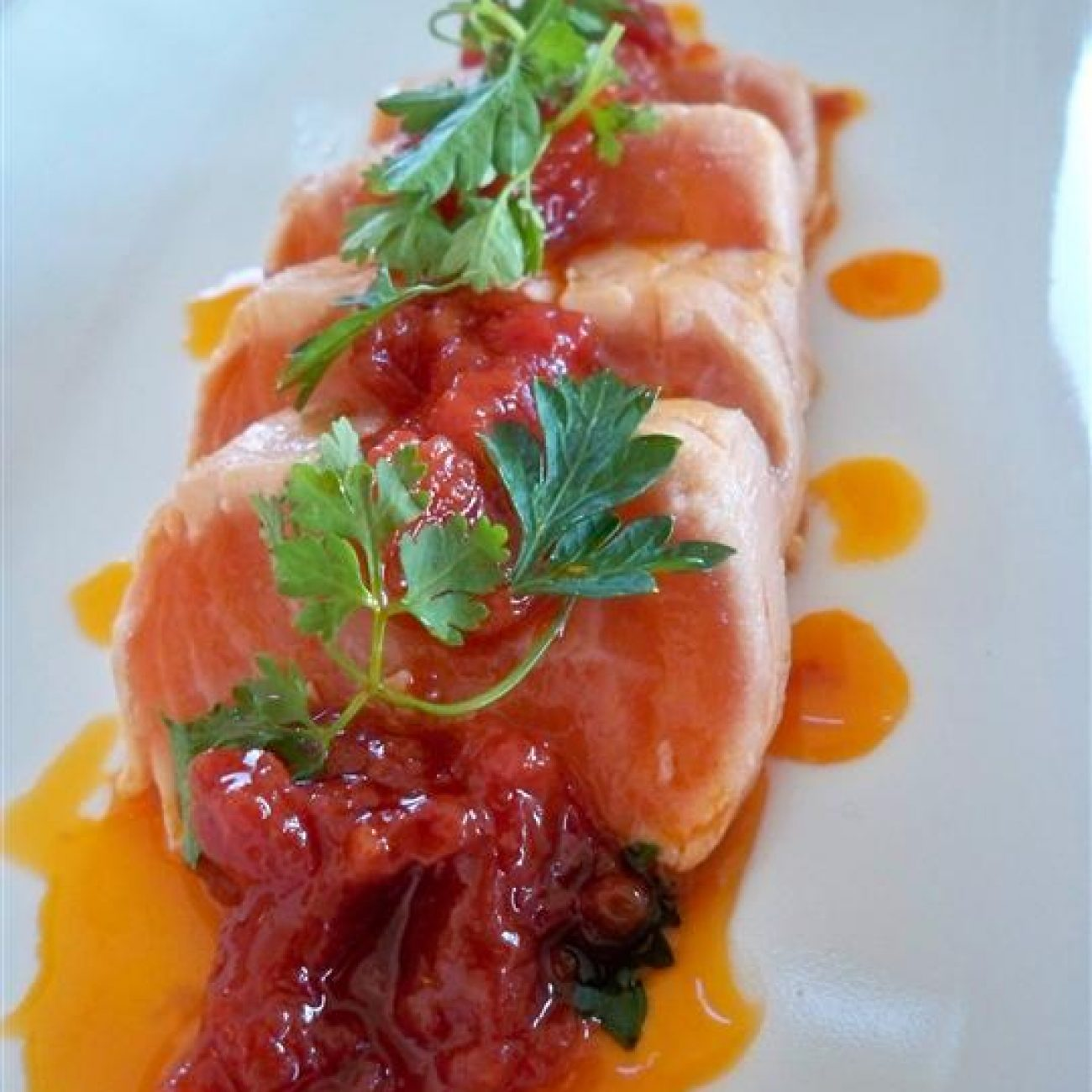 Seared Salmon with Tomato compote and fresh herbs