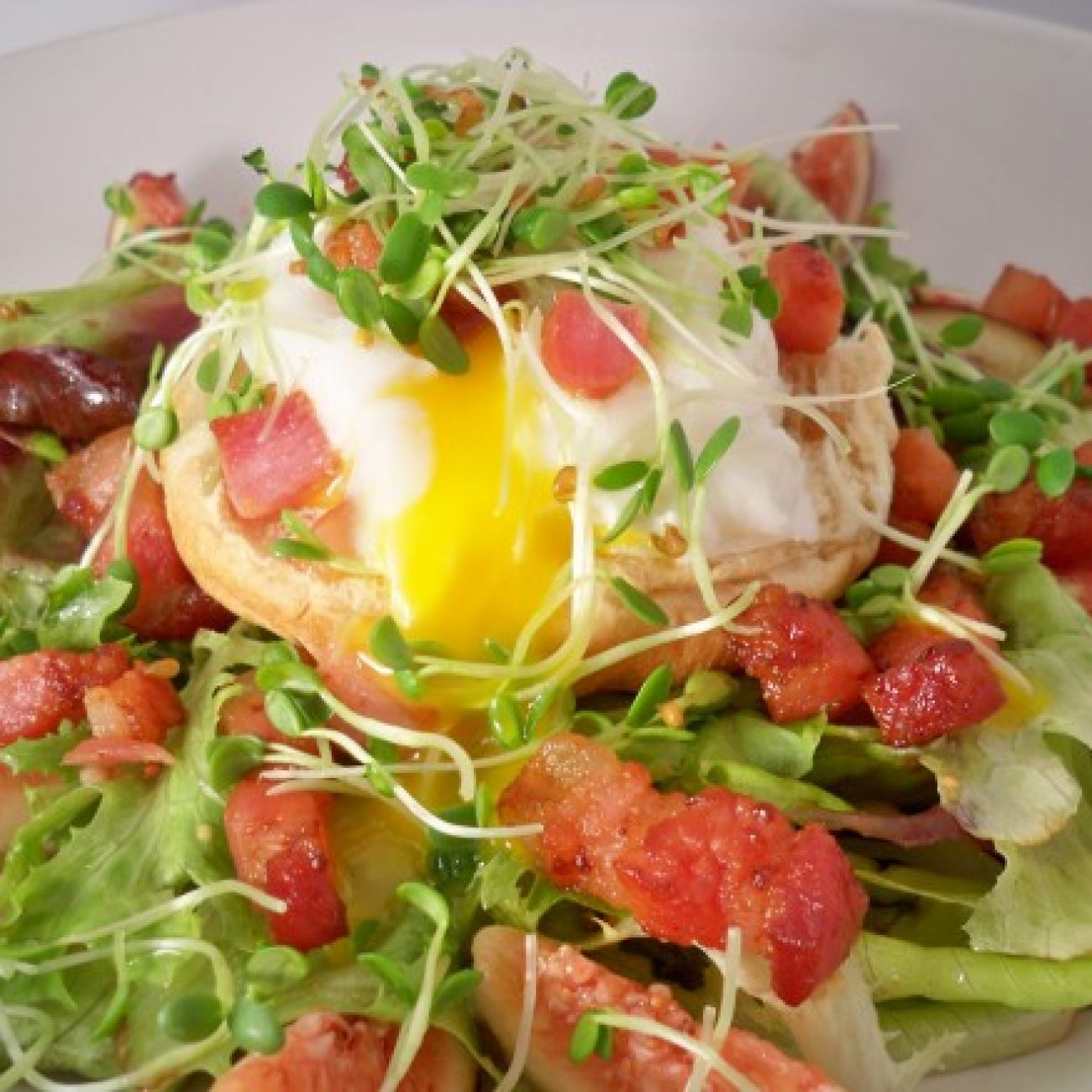 Fig and Lardon Salad with Poached Egg