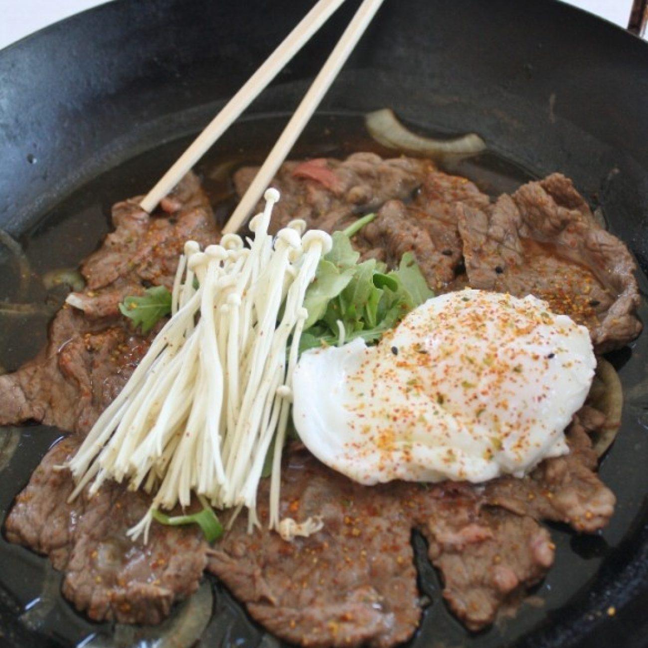 Beef Sukiyaki with Poached Egg and Enoki Mushrooms