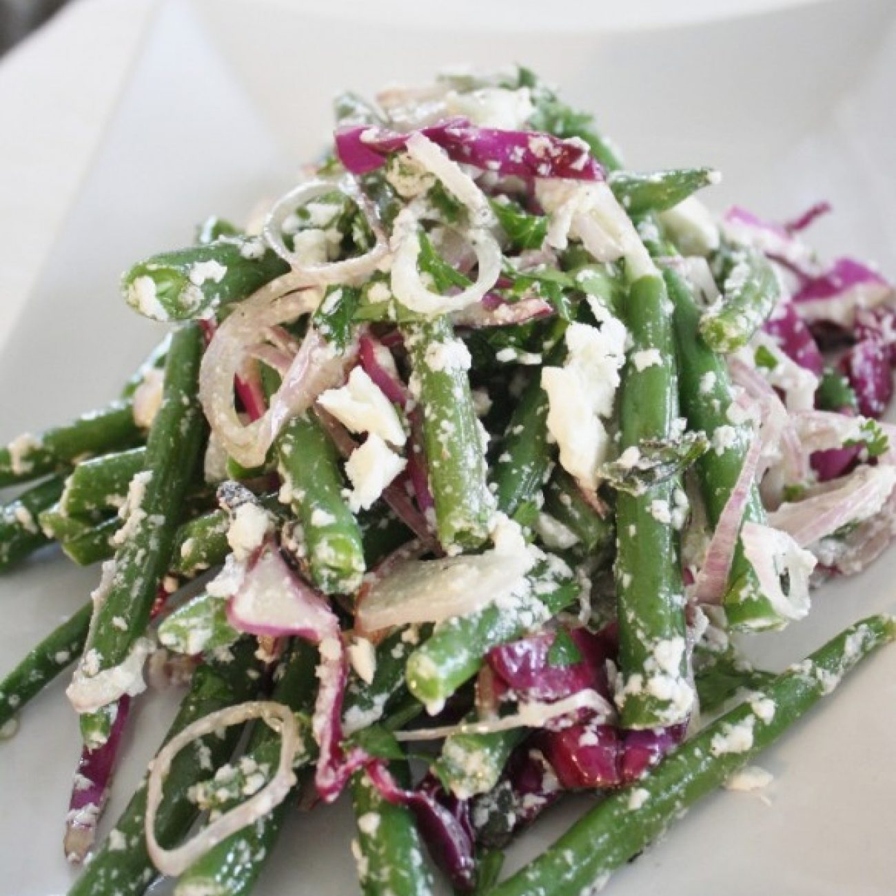 Green Bean, Red Cabbage and Feta Salad