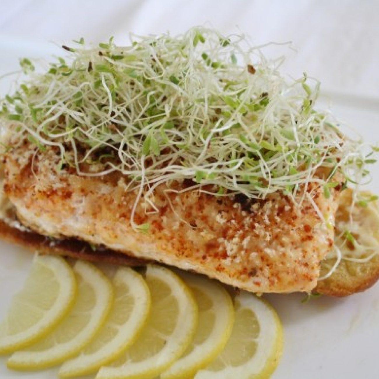 Lemon Sole on Lemon Aioli Toastie (kicked up fish sandwich)