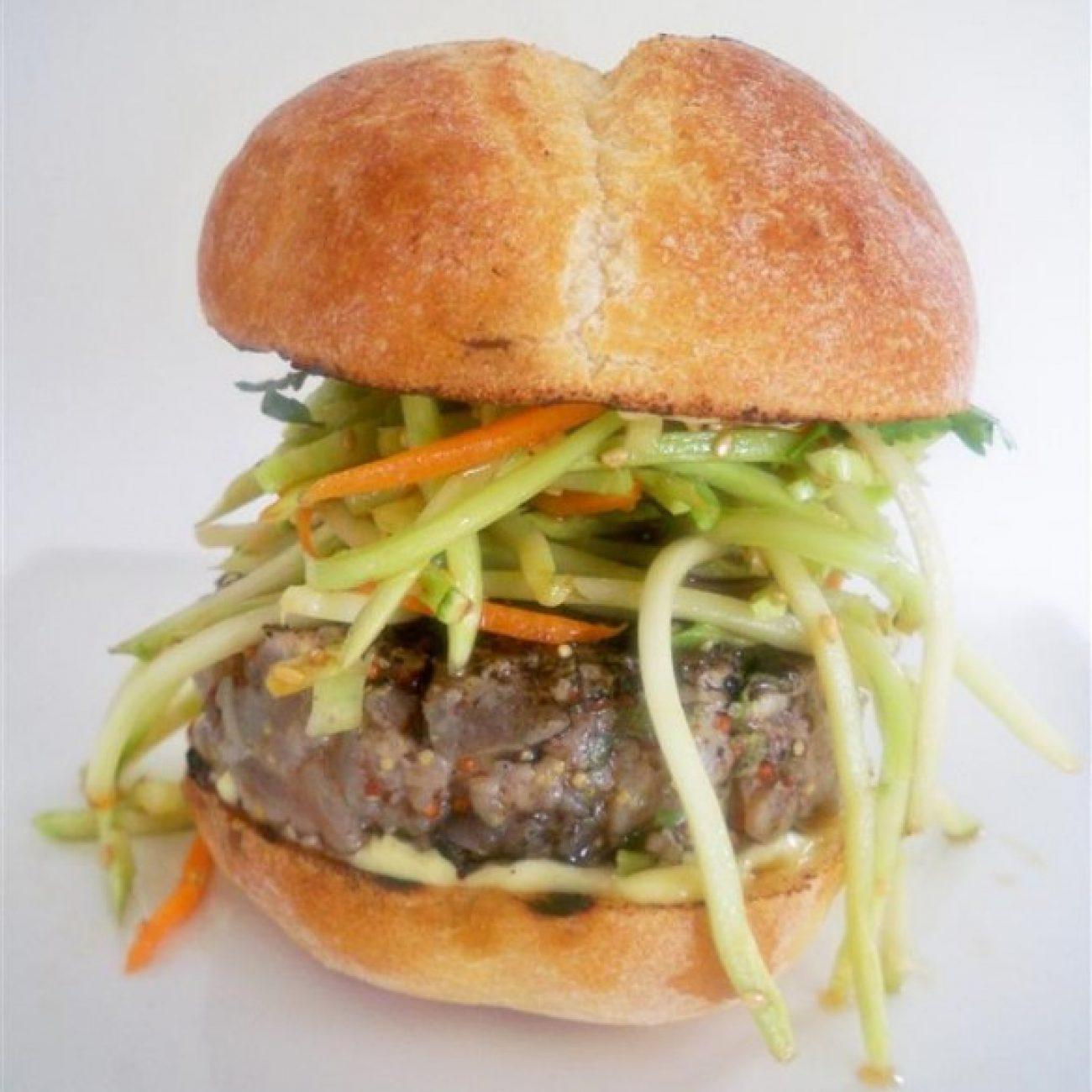 Grilled Tuna Burgers with broccoli Asian slaw