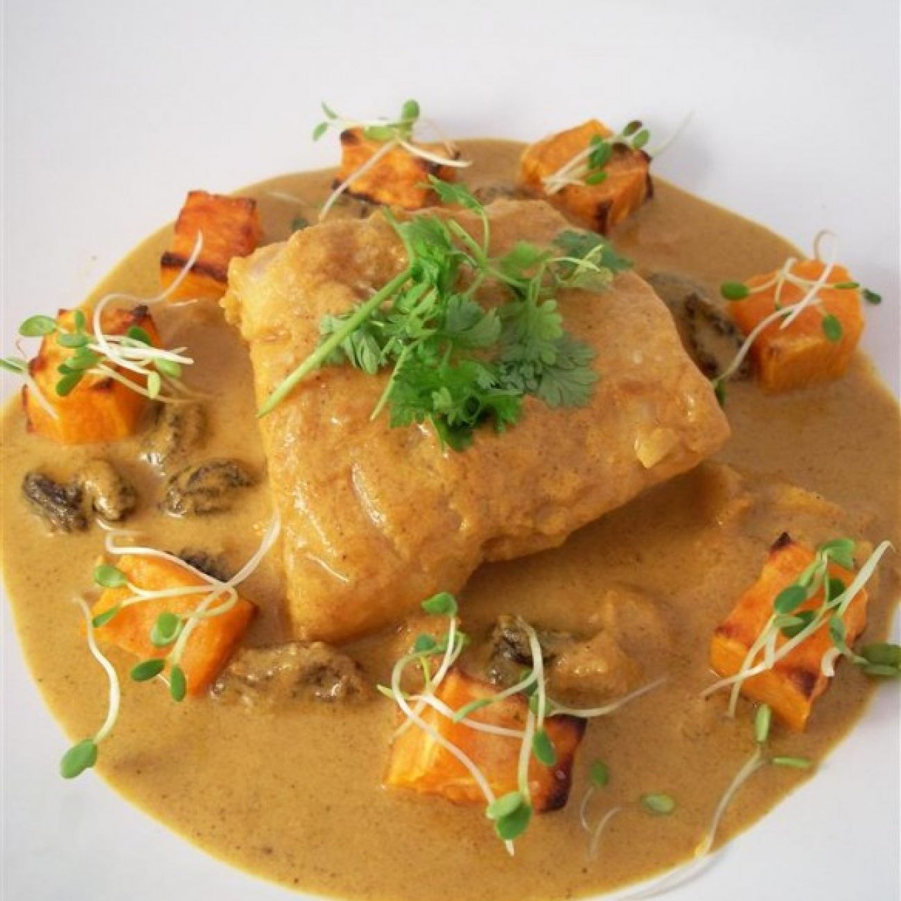 Cod in coconut curry with sweet potato