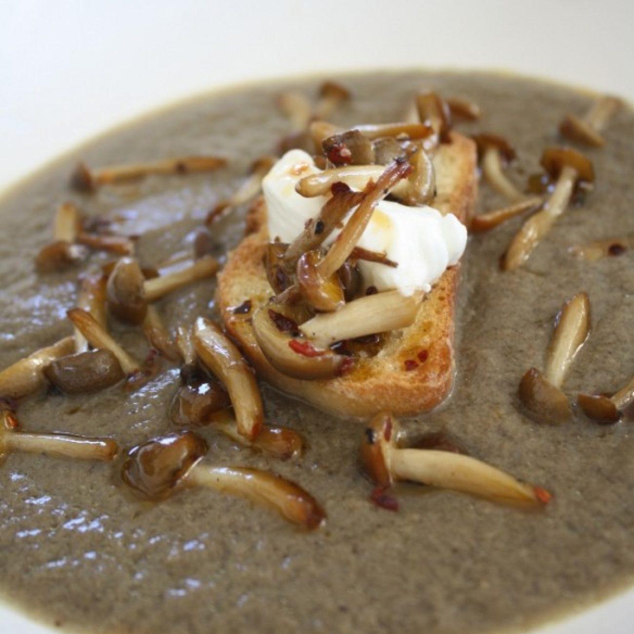Mushoom Soup with Sauteed Beech Mushrooms