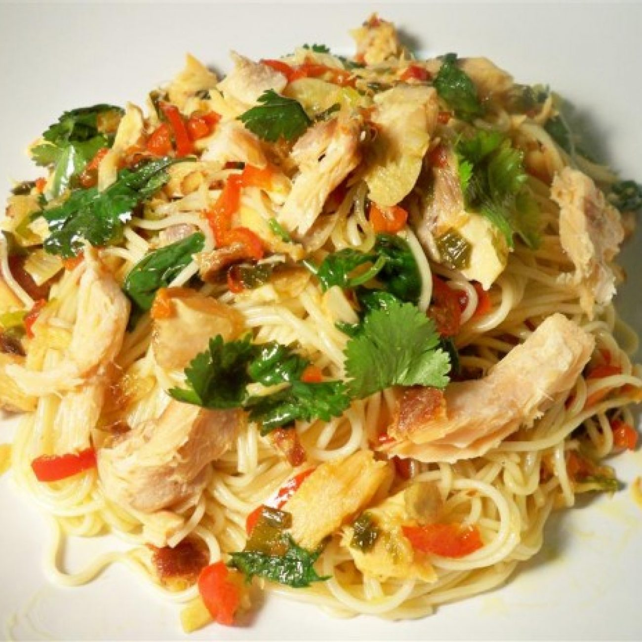 Smoked salmon pasta with chili and lime