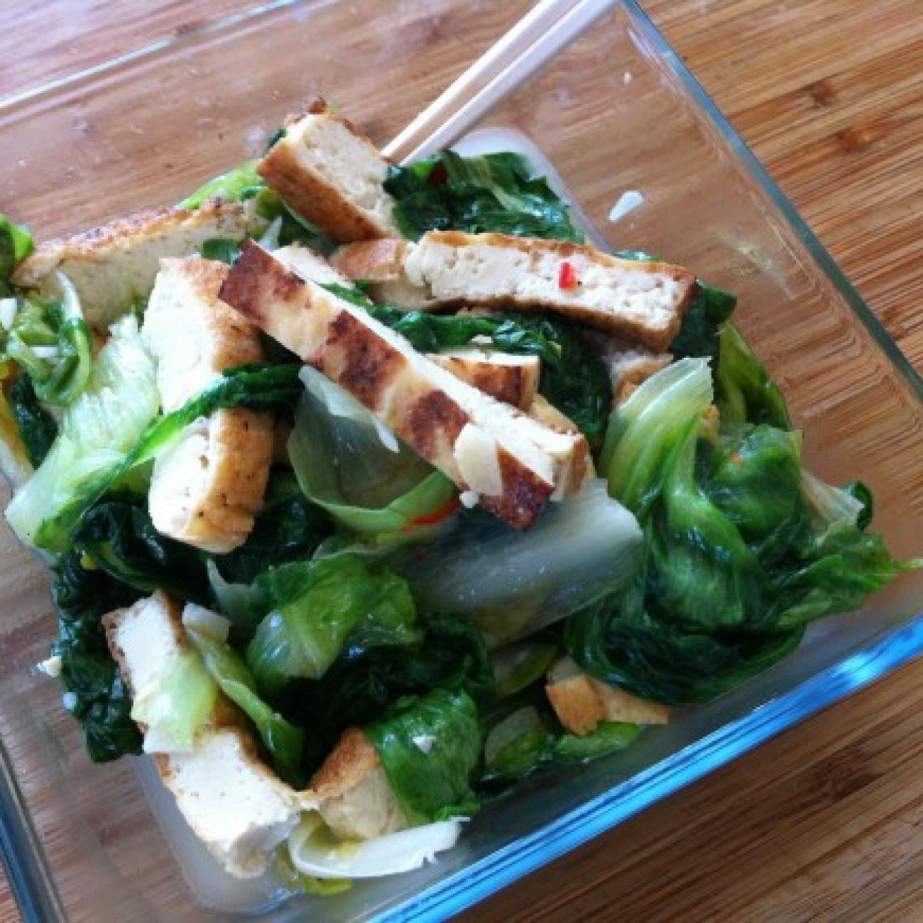 Stir Fry Escarole and Tofu