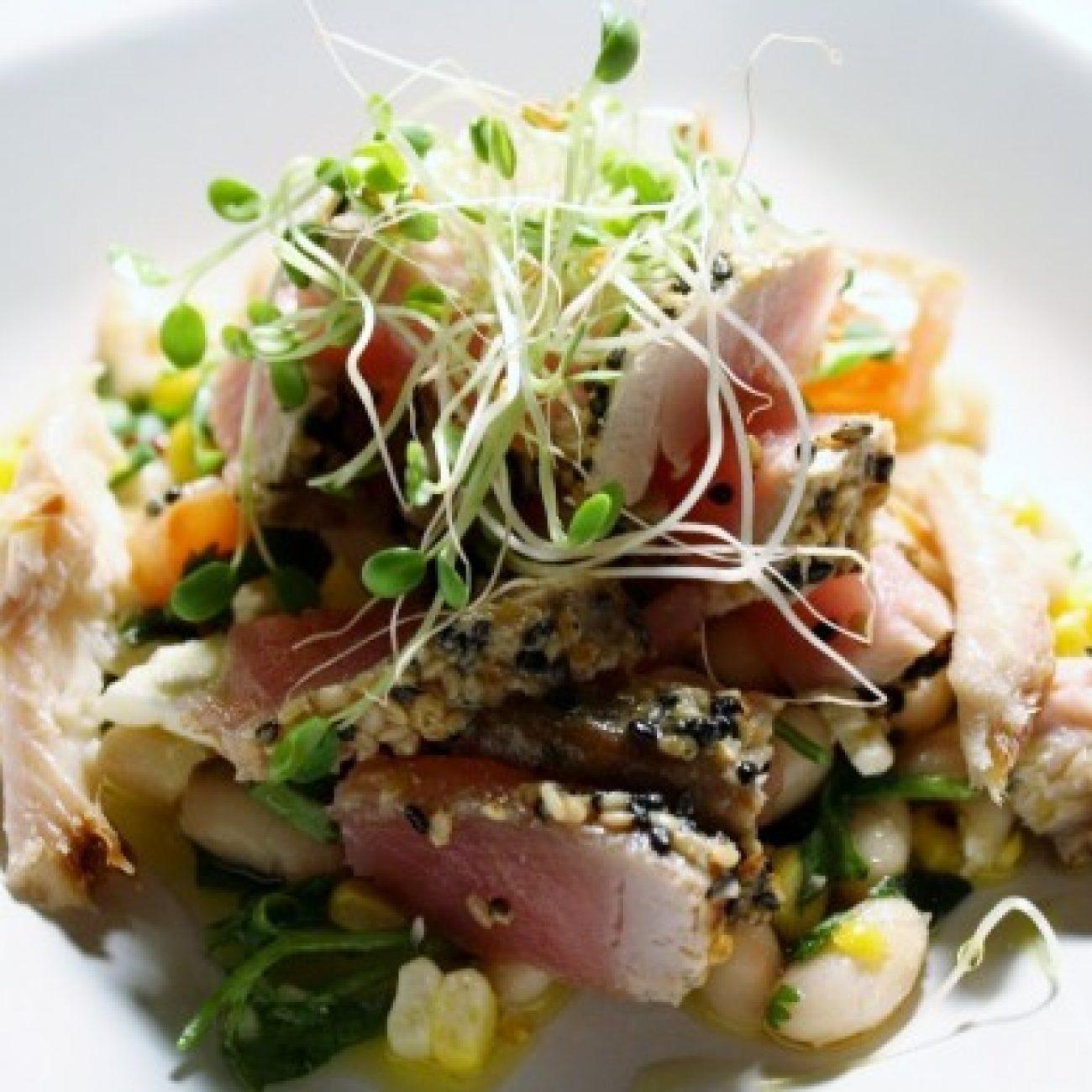 Sesame Seared Tuna on Tomato White Bean Salad