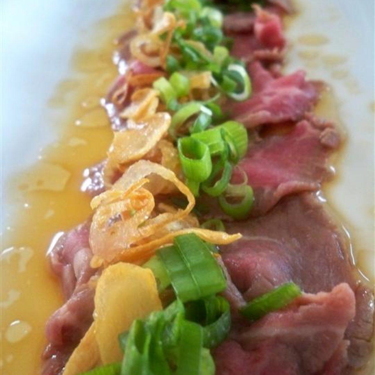 Beef Tataki with Crispy Shallots and Garlic