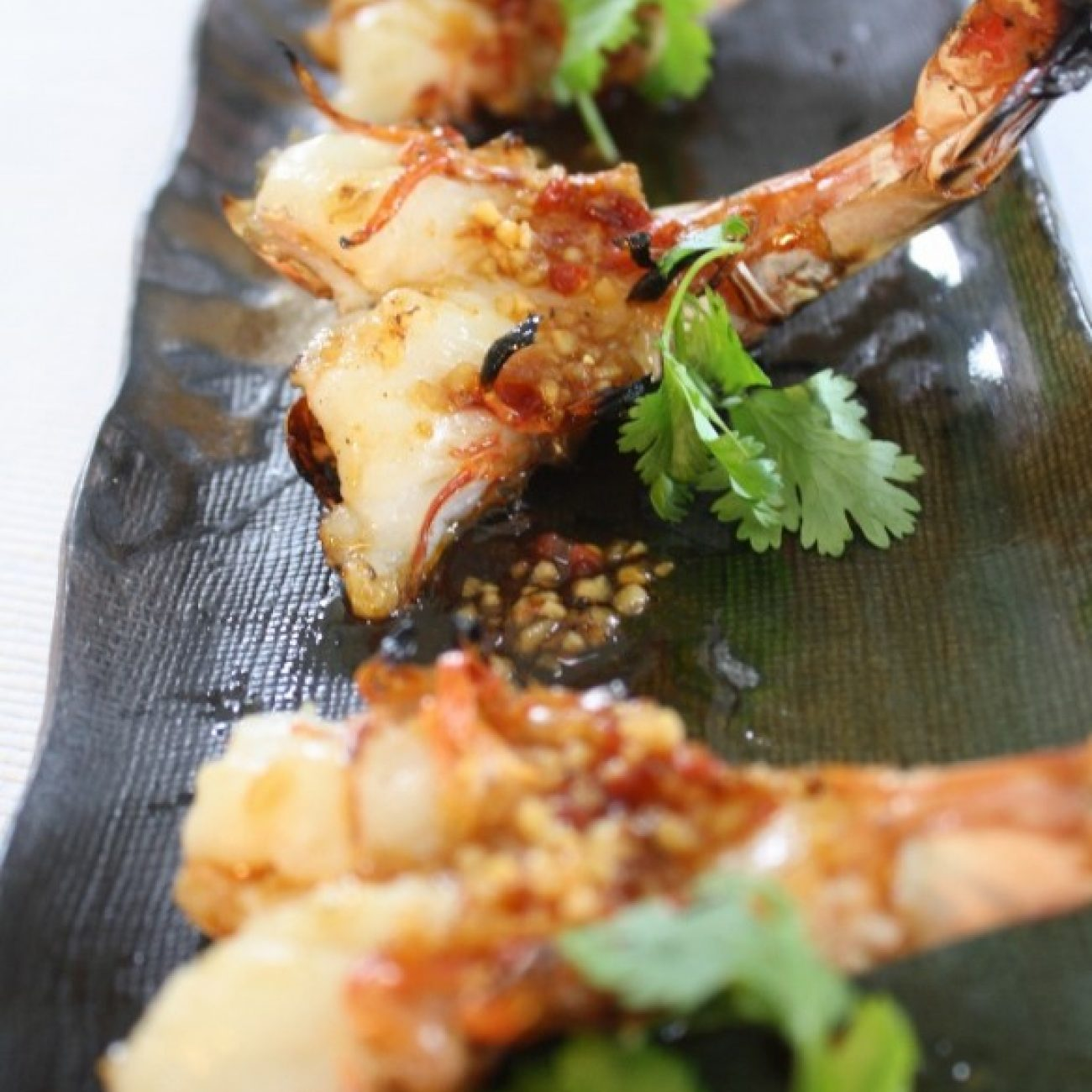 Char Grilled Shrimp with Spicy Lemon Chili Sauce