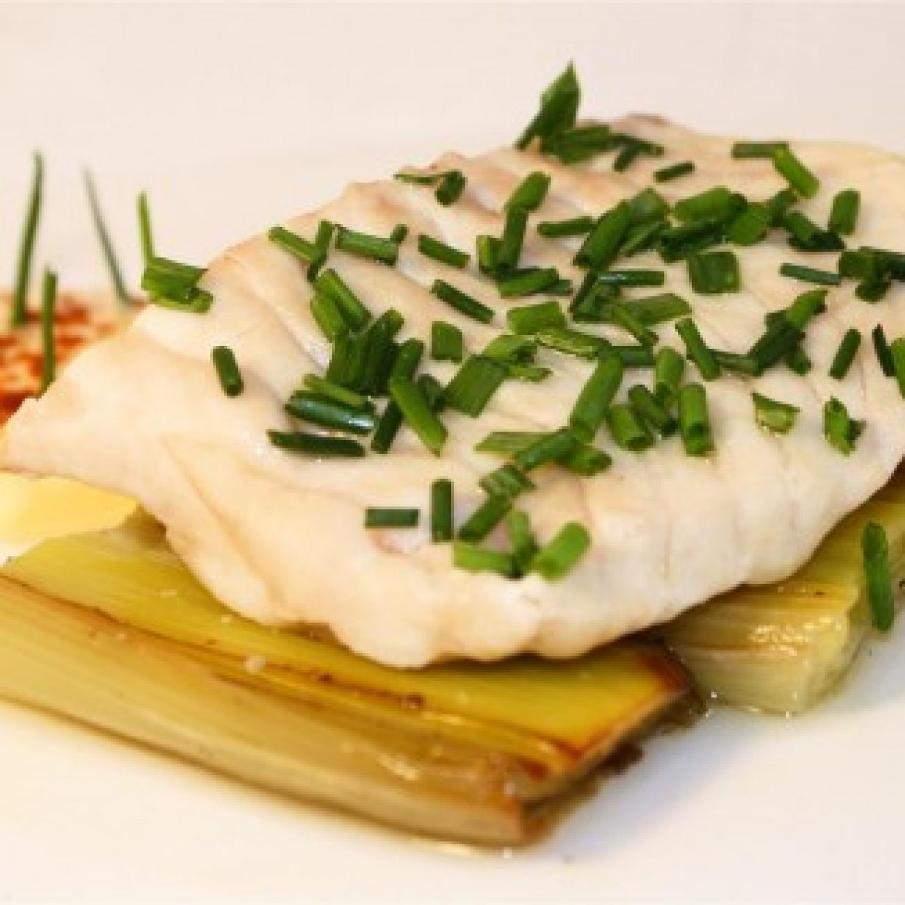 Steamed Cod with braised leeks and lemon mayonaise