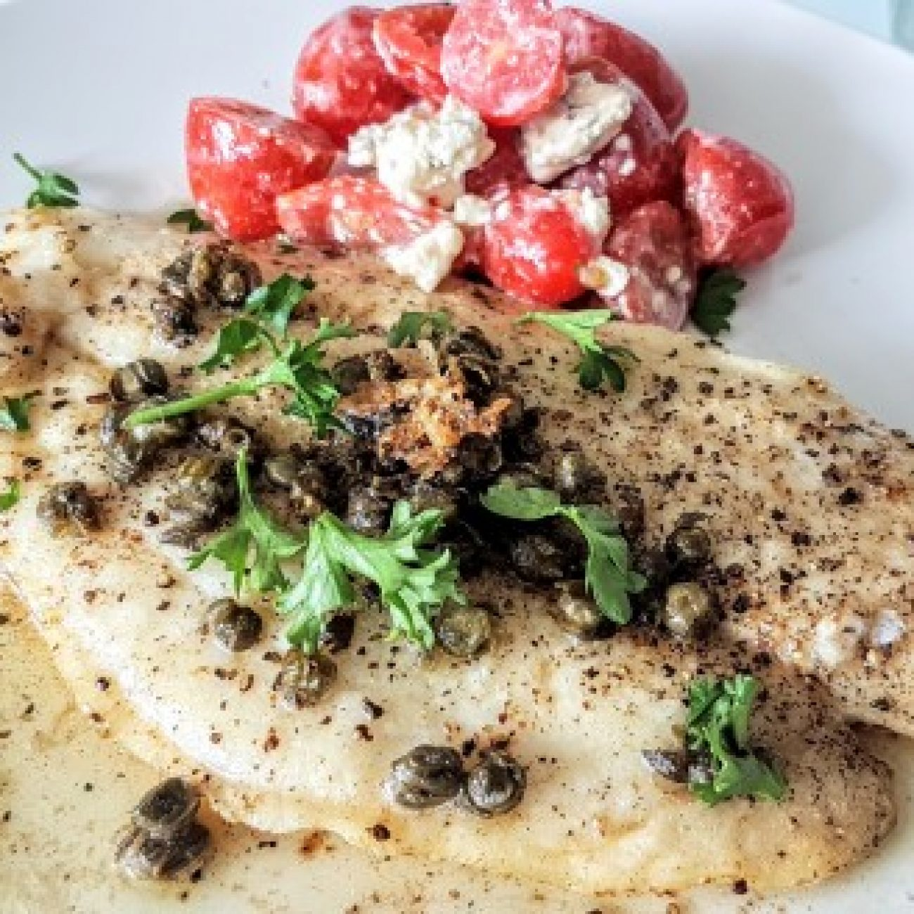 Tilapia with Caper Mustard Sauce